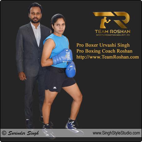 Professional Female Boxer Urvashi Singh Boxing Coach Roshan in New Delhi India